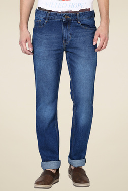Newport Blue Lightly Washed Slim Fit Mid Rise Cotton Jeans