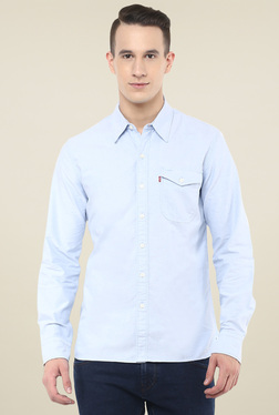 Levi's Light Blue Cotton Full Sleeves Shirt