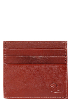 Kara Dark Red Solid Leather Card Case