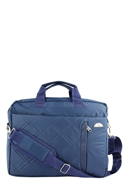 Kara Blue Quilted Leather Laptop Messenger Bag