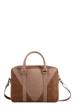 Mohawk Camelus Beige Colour Block Laptop Messenger Bag