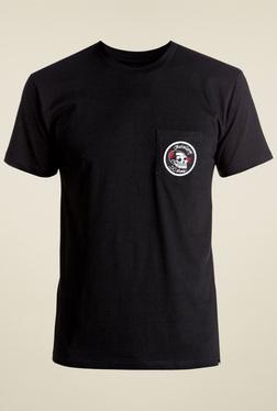 DC Black Round Neck Short Sleeves Printed Cotton T-Shirt