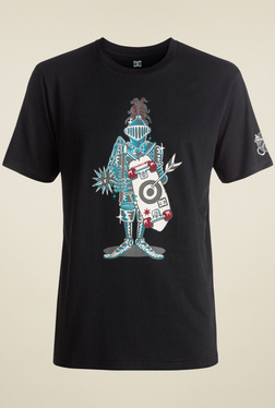 DC Black Round Neck Regular Fit Printed T-Shirt