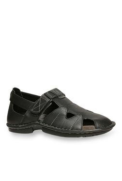 Hush Puppies New Decent Oily Black Ankle Strap Sandals