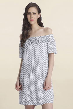 Only White Printed Off Shoulder Above Knee Dress