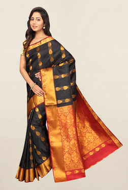 Pavecha's Black Printed Cotton Saree With Blouse