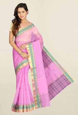 Pavecha's Purple Checks Polyester Saree With Blouse