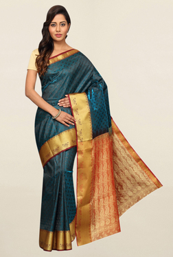 Pavecha's Teal Paisley Print Cotton Saree With Blouse