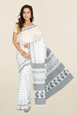 Pavecha's White Printed Cotton Polyblend Saree With Blouse
