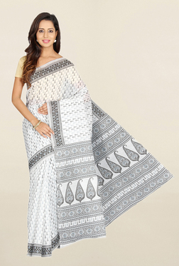 Pavecha's White Printed Cotton Polyblend Saree With Blouse - Mp000000001665599