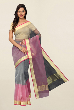 Pavecha's Grey & Pink Cotton Polyblend Saree With Blouse
