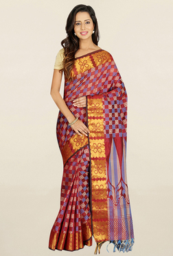 Pavecha's Maroon Printed Cotton Polyblend Saree With Blouse
