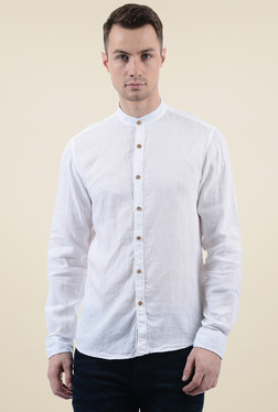 Pepe Jeans White Band Collar Regular Fit Shirt