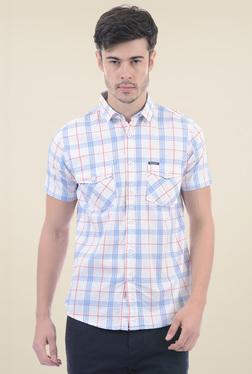 Pepe Jeans Off-White & Blue Short Sleeves Checks Shirt