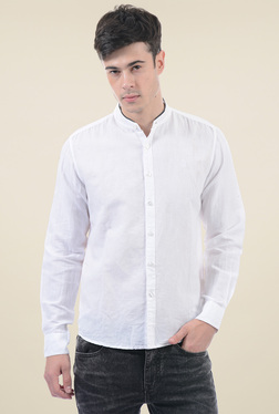 Pepe Jeans White Band Collar Shirt
