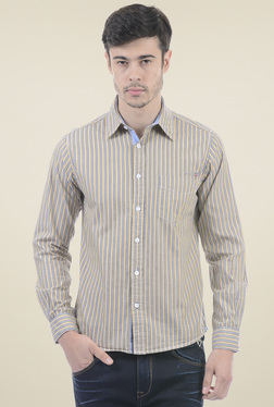 Pepe Jeans Beige Full Sleeves Regular Fit Shirt