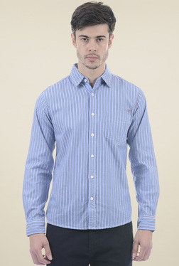 Pepe Jeans Blue Full Sleeves Regular Fit Shirt