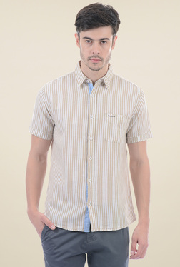 Pepe Jeans Brown Short Sleeves Striped Shirt