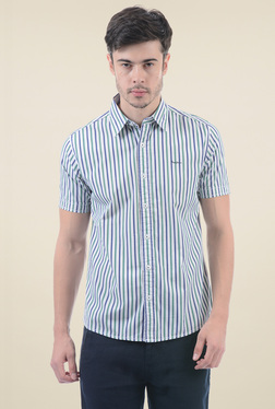 Pepe Jeans Blue & Green Striped Short Sleeves Shirt
