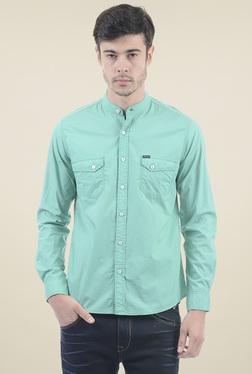 Pepe Jeans Teal Blue Slim Fit Cotton Shirt