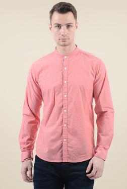 Pepe Jeans Salmon Band Collar Striped Shirt