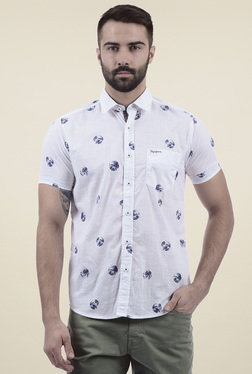 Pepe Jeans White Cotton Printed Half Sleeves Shirt