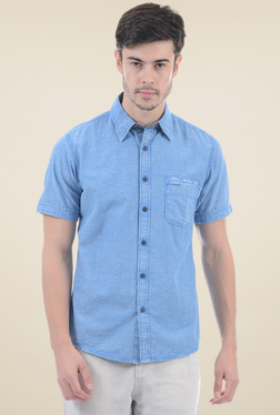 Pepe Jeans Light Blue Solid Short Sleeves Shirt