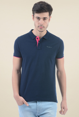 Pepe Jeans Navy Short Sleeves Slim Fit Polo T-Shirt