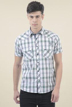 Pepe Jeans White & Green Checks Shirt