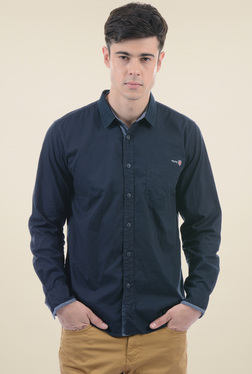 Pepe Jeans Navy Full Sleeves Regular Fit Cotton Shirt