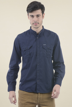 Pepe Jeans Dark Blue Slim Fit Band Collar Shirt