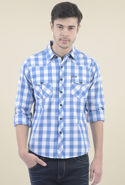 Pepe Jeans White & Blue Checks Regular Fit Shirt