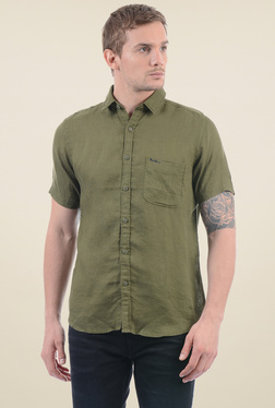 Pepe Jeans Olive Half Sleeves Regular Fit Shirt