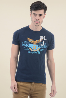 Pepe Jeans Navy Round Neck Slim Fit Printed T-Shirt