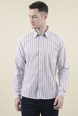 Pepe Jeans Grey & Coral Striped Regular Fit Shirt