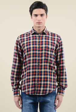 Pepe Jeans Navy & Rust Checks Regular Fit Shirt