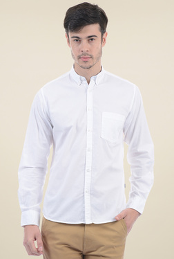 Pepe Jeans White Button Down Collar Cotton Shirt