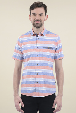 Pepe Jeans Coral & Blue Striped Regular Fit Shirt