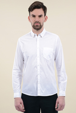 Pepe Jeans White Full Sleeves Button Down Collar Shirt