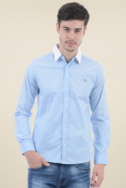 Pepe Jeans Light Blue Slim Fit Solid Shirt