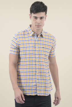 Pepe Jeans Blue & Orange Checks Regular Fit Shirt