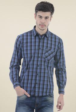 Pepe Jeans Blue & Black Slim Fit Checks Shirt