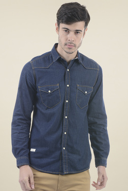 Pepe Jeans Navy Solid Slim Fit Shirt