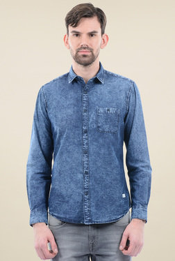 Pepe Jeans Dark Blue Cotton Regular Fit Shirt