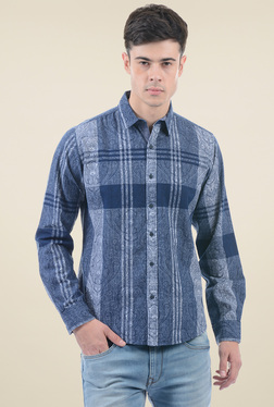 Pepe Jeans Steel Blue Cotton Regular Fit Shirt