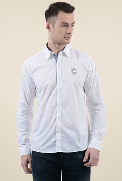 Pepe Jeans White Cotton Solid Full Sleeves Shirt
