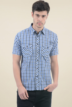 Pepe Jeans Blue Half Sleeves Checks Shirt