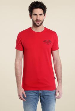 Jack & Jones Red Round Neck Short Sleeves Cotton T-Shirt