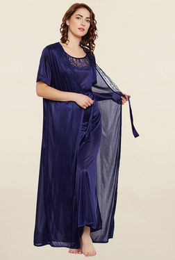 Clovia Navy Solid Nightie With Robe