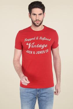 Jack & Jones Red Round Neck Short Sleeves T-Shirt